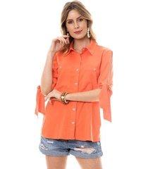 camisa bisô amarração feminino