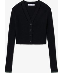 proenza schouler white label fine gauge rib knit crop cardigan black/forest l