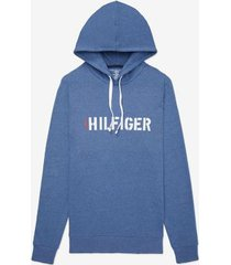 tommy hilfiger men's hilfiger hoodie blue heather - xxl