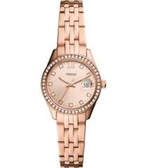 fossil women's micro scarlette rose gold-tone bracelet watch 28mm