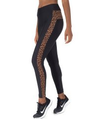 calça legging oxer animal print recorte - feminina - preto