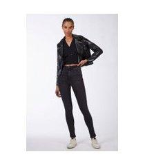 calça basic high skinny stoned jeans black medio - 46