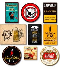 kit placas decorativas bebidas frases mdf - 9 placas - amarelo - feminino - dafiti