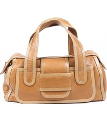 pierre hardy brown leather duffle bag brown sz: l