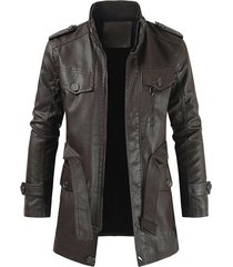 faux leather solid color zip up coat