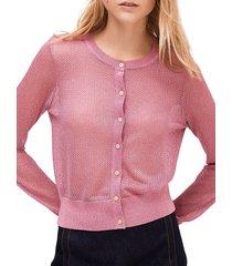 kate spade new york women's open-knit metallic cardigan sweater - ruffled pansy - size xxs
