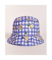 chapéu infantil emi beachwear bucket hat estampado picnic frutas azul