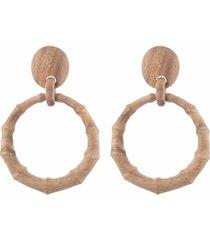 natori acacia wood bamboo drop earrings, women's