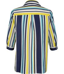 blus m. collection vit::gul::marinblå