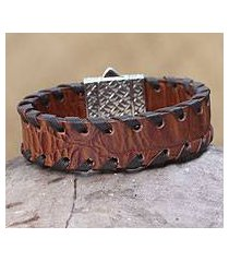 men's sterling silver and leather wristband bracelet, 'weaver' (indonesia)