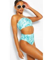 lange geribde bandeau bikini met marmerprint, muntgroen