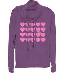 fifth sun e.t. valentines heart grid e.t. peaking cowl neck sweater