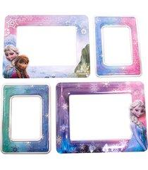 adesivo porta retrato minas de presentes para 4 fotos frozen - disney rosa