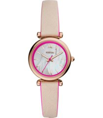 fossil women's carlie mini hot pink & blush leather strap watch 28mm
