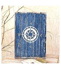 wood wall sign, 'guiding compass in blue' (indonesia)