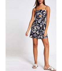 river island womens black floral cutout beach mini dress