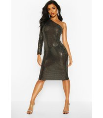 sequin one shoulder midi dress, gold