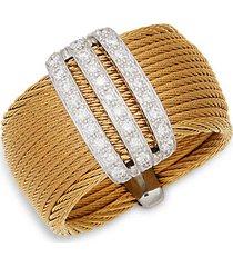 14k white gold, stainless steel & diamond ring