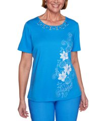 alfred dunner sea you there studded embroidered knit top