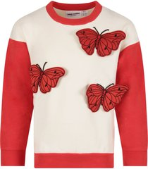 mini rodini ivory girl sweatshirt with butterflies