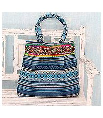 cotton shoulder bag, 'sky blue gujarat glam' (india)