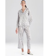 natori leopard printed cotton sateen sleepwear pajamas & loungewear, women's, 100% cotton, size l natori