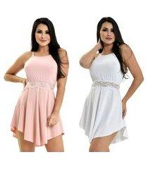 kit 2 camisola microfibra renda luxo sensual vestido rosê branco