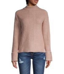 design history women's faux pearl-trim sweater - camel - size m