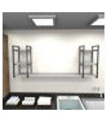 prateleira industrial lavanderia aço cor preto 180x30x68cm cxlxa cor mdf cinza modelo ind30clav