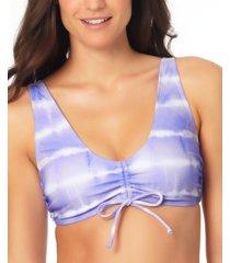 california waves juniors' cinch-front bralette high tide bikini top, created for macy's women's swimsuit