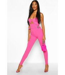 western buckle cut out jumpsuit, hot pink