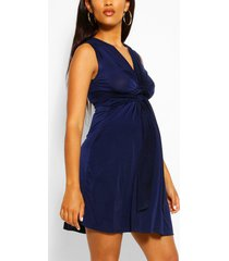maternity knot front mini dress, navy