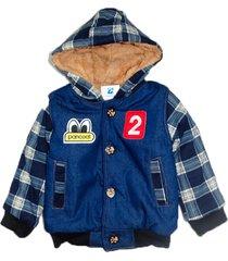 jaqueta casaco manabana infantil grossa com pelucia jeans - azul - l㣠- dafiti