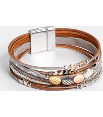 maurices womens gray leaf multi row magnetic bracelet