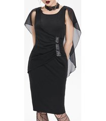 chiffon insert ruched cape bodycon gothic dress