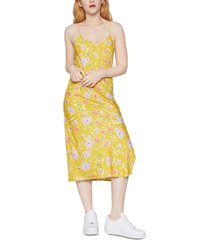bcbgeneration satin floral-print sheath dress
