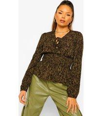 geweven luipaardprint veter blouse, khaki