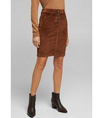 falda mini de cotelé marrón esprit