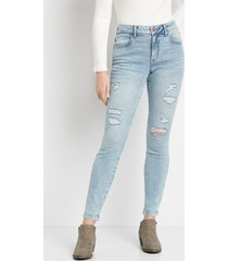 maurices womens jeans vintage high rise ripped jegging blue denim