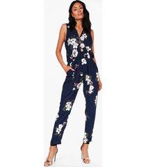floral print wrap front jumpsuit, navy