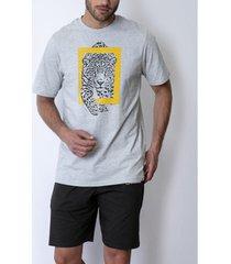 polo shirt korte mouw admas for men pyjama shorts t-shirt wild national geographic grijs admas