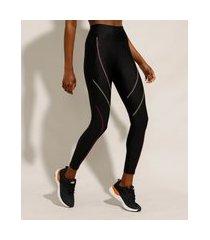 calça legging esportiva ace com costuras coloridas preta