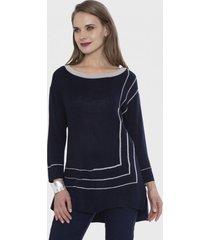 sweater con detalle de lurex azul lorenzo di pontti