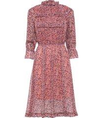 stupendo abito in chiffon con belle arricciature e volant. (rosa) - bodyflirt