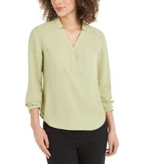 nine west two-pocket blouse