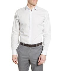 men's big & tall nordstrom men's shop trim fit non-iron dot dress shirt, size 16.5 - 36/37 - white