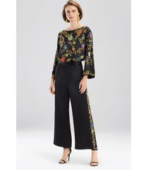 couture beaded floral pants sleep/lounge/bath wrap/robe, women's, black, 100% silk, size m, josie natori