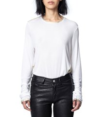 women's zadig & voltaire willy gold foil tee, size medium - white