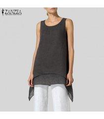 zanzea verano de las mujeres sin mangas del chaleco tee camiseta del club del partido cami playa túnica de la blusa -negro