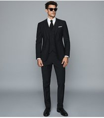 reiss pray - slim fit travel blazer in black, mens, size 46l
